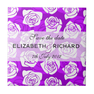 Vintage purple roses Save the date Tile