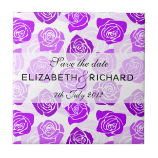 """Vintage purple roses """"Save the date"""" Tile"""