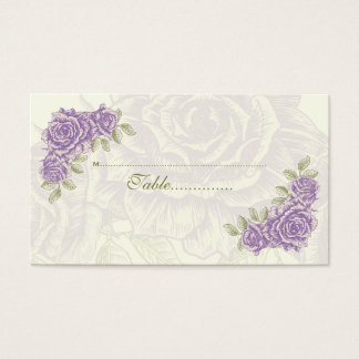 Vintage purple roses wedding escort place card