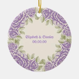Vintage purple roses Wedding Round Ceramic Decoration