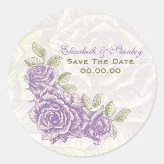 Vintage purple roses wedding Save the Date sticker