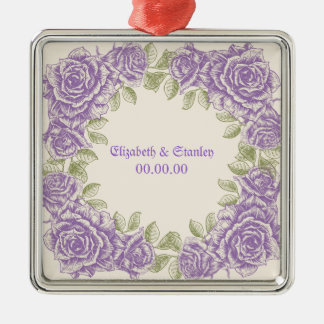 Vintage purple roses Wedding Silver-Colored Square Decoration