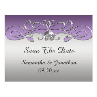 Vintage Purple Silver Ornate Swirls Save The Date Postcard