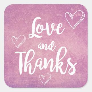 Vintage Purple Thank You White Hearts Love Grunge Square Sticker