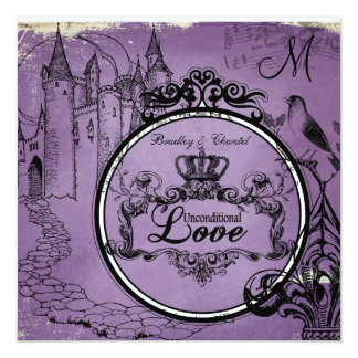 Vintage Purple Unconditional Love Wedding Invite