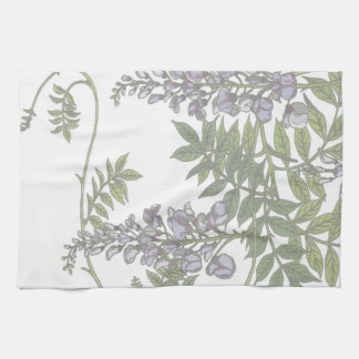 Vintage Purple Wisteria Green Leaves Vine Hand Towels