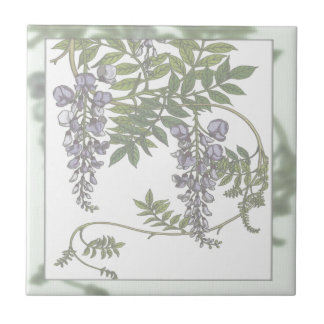 Vintage Purple Wisteria Green Leaves Vine Tile