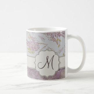 Vintage Purple Wisteria with Monogram Coffee Mug