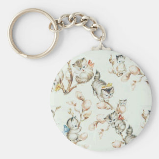 Vintage Pussy Willow Basic Round Button Key Ring