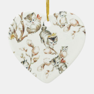 Vintage Pussy Willow Ceramic Heart Decoration
