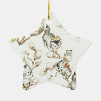 Vintage Pussy Willow Ceramic Star Decoration