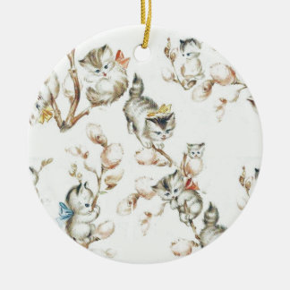 Vintage Pussy Willow Round Ceramic Decoration