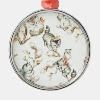 Vintage Pussy Willow Silver-Colored Round Decoration
