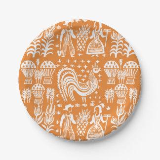 Vintage Pyrex Pattern - Butterprint (Amish Farmer) Paper Plate