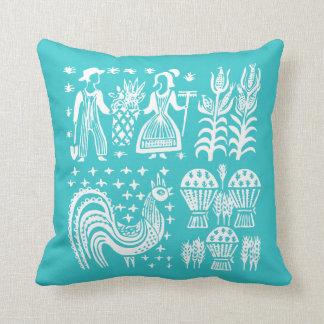 Vintage Pyrex Pattern - Butterprint Turquoise Blue Cushion