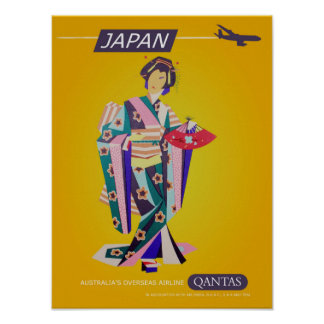 Vintage Qantas Japan Travel Poster