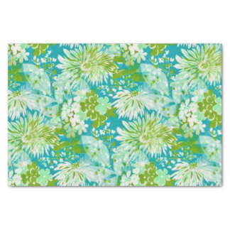 Vintage Quaint Spring Flowers Fabric Look Tissue Paper
