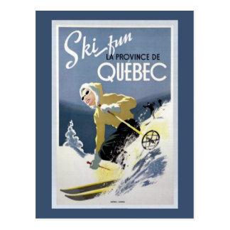 Vintage Quebec, Canada Ski Postcard