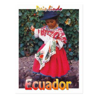vintage Quechua Ecuador postcard girl