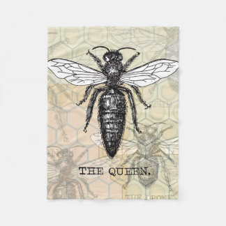Vintage Queen Bee Illustration Fleece Blanket