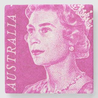 Vintage Queen Elizabeth II Australia Stone Coaster