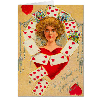Vintage Queen of Hearts Card
