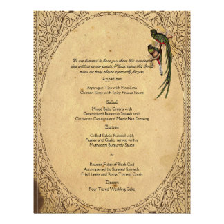 Vintage Quetzal Bird Elegant Wedding Menu
