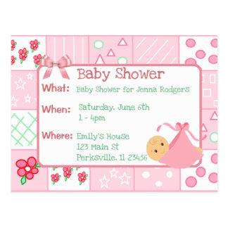 Vintage Quilt Pink Girl's Baby Shower Invitation Postcard