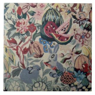 "Vintage Rabbit Fruit Veggie Flower Rug 6"" Tile"