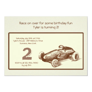 "Vintage Race Car Invitation 5"" X 7"" Invitation Card"