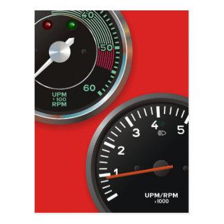 Vintage racing instruments: Classic car gauges Postcard