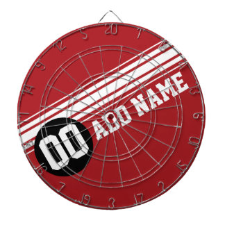Vintage Racing Stripes - Red and Black Dartboard