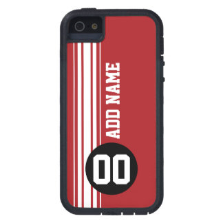 Vintage Racing Stripes - Red and Black iPhone 5 Case