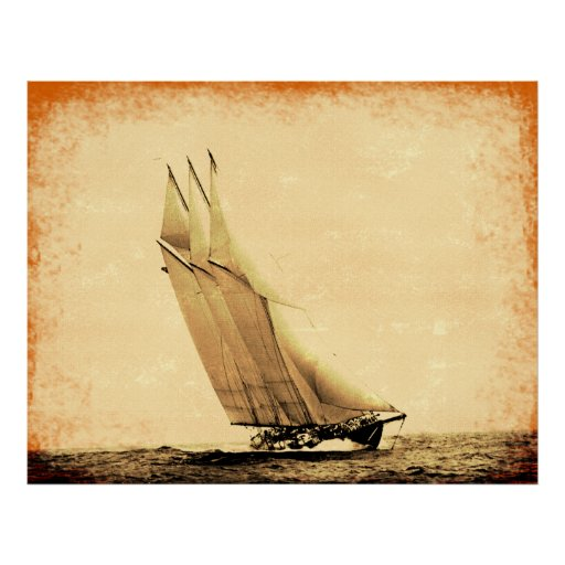 Vintage Racing Yacht Atlantinc Canvas Print