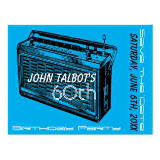 Vintage Radio 60th birthday Party Save the Date Postcard