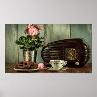 Vintage Radio China Set Flowers and Pretzel Poster