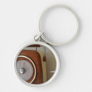 Vintage Radio Silver-Colored Round Key Ring