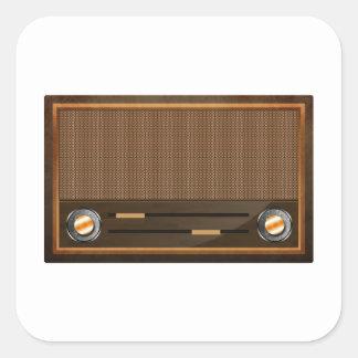 Vintage radio square sticker