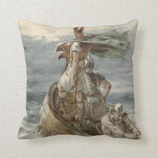 Vintage Raiding Vikings Painting (1873) Cushion