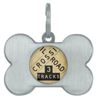 Vintage Railroad Crossing Crossbuck Pet Name Tag