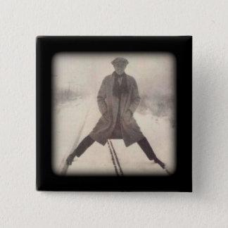Vintage Railroad Photo c 1920s 15 Cm Square Badge