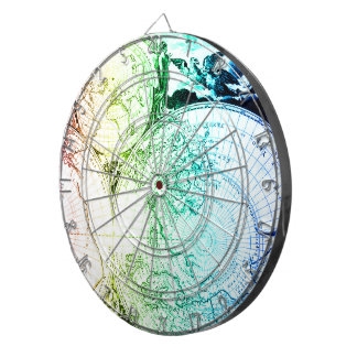 Vintage Rainbow Old Maps Design for Home Casino Dartboard