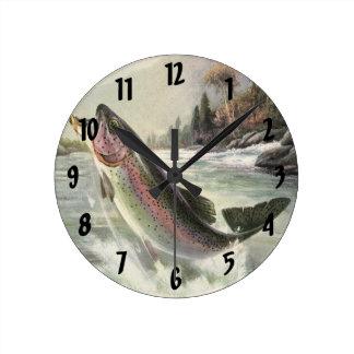 Vintage Rainbow Trout Fish, Fisherman Fishing Clock