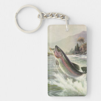 Vintage Rainbow Trout Fish, Fisherman Fishing Double-Sided Rectangular Acrylic Key Ring