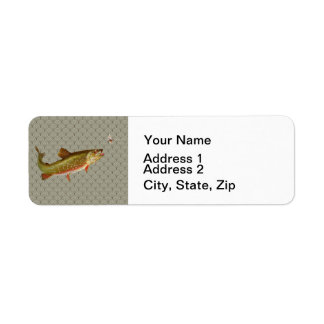 Vintage rainbow trout fly fishing return address label
