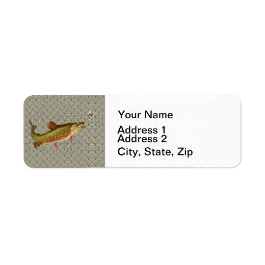 Vintage rainbow trout fly fishing return address label