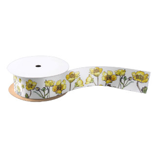 Vintage Ranunculus Floral Flowers Ribbon Satin Ribbon