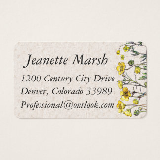Vintage Ranunculus Flowers Business Cards