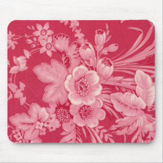 Vintage Raspberry Red Floral Mouse Pad