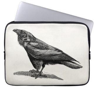 Vintage Raven Crow Blackbird Bird Illustration Computer Sleeve